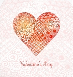 Valentines day card with big zentagle heart vector image
