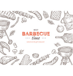 vintage bbq poster barbecue doodle grill chicken vector image