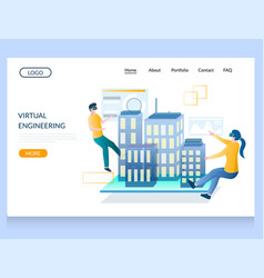 virtual engineering website landing page vector image