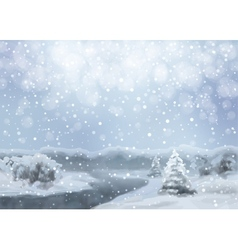 Watercolor snowy landscape vector
