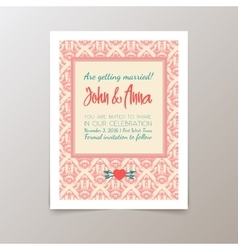 Wedding invitation card with geometric vintage vector