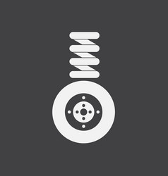 White icon on black background wheel and spring vector