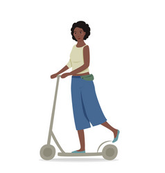 Young pretty girl with dark hair riding a scooter vector