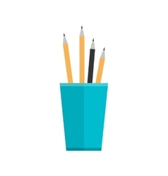 Blue Glass with Pencils vector image vector image