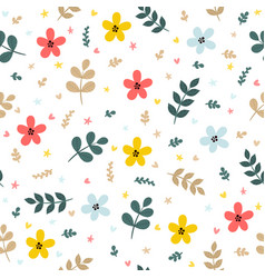 cute floral seamless pattern with leaves branches vector image vector image