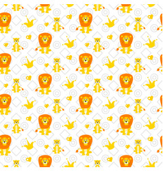 cute lion and lioness seamless pattern vector image