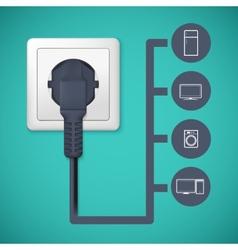 Electrical plug closeup vector image vector image