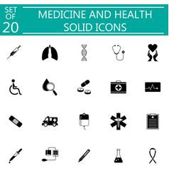 medicine and health solid icon set medical symbols vector image vector image