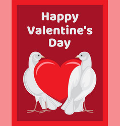 two doves stands red heart symbols of eternal love vector image