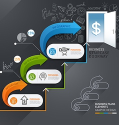 Business staircase doorway conceptual infographics vector image vector image