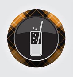 button orange black tartan - carbonated drink vector image vector image