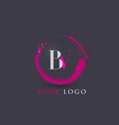bv letter logo circular purple splash brush vector image