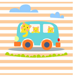 Cat family in hipster van for vector