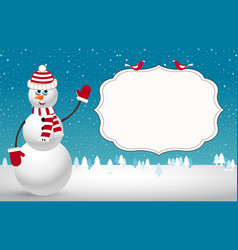 christmas card with fir trees snowman and space vector image