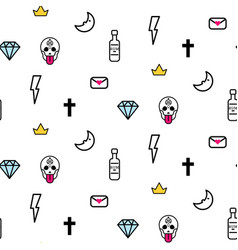 doodle hipster lightning skull eye and diamond vector image