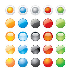 glossy glass button icon website vector image vector image