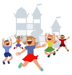 Kids jumping with joy on a playground vector image vector image