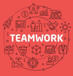 linear teamwork vector image