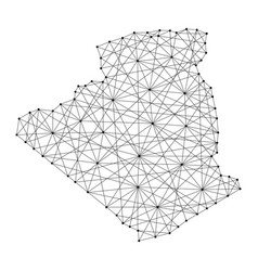 map of algeria from polygonal black lines and dots vector image vector image