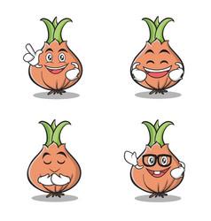 set of onion character cartoon vector image vector image