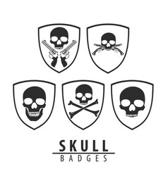 skull emblem on white background vector image