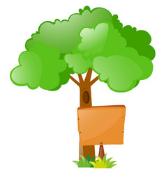 wooden sign under the tree vector image