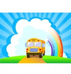 yellow school bus background vector image vector image