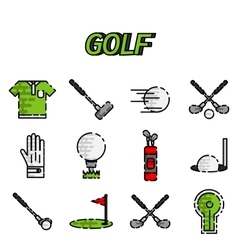 Golf flat icon set vector image