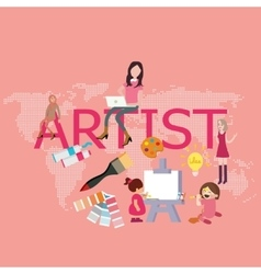 artist drawing since kids become graphic designer vector image