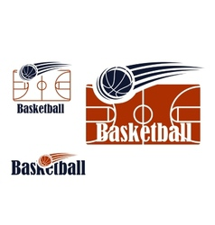 Basketball symbol with field and ball vector image vector image