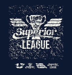 College rugby superior league retro emblem vector