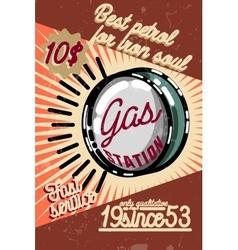 Color vintage gas station poster vector image