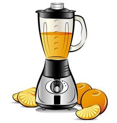 drawing color kitchen blender with orange juice vector image