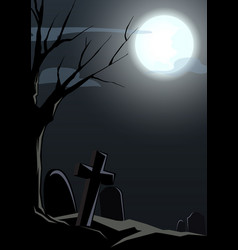 happy halloween graveyard and died tree night back vector image