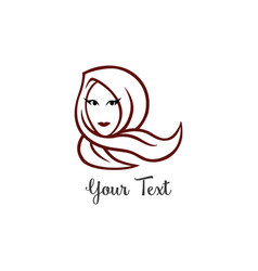 Hijab logo young lovely muslim girl line art vector