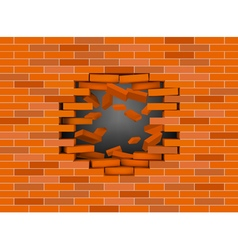 Red broken brick wall vector image vector image