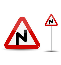 road sign warning dangerous turns in red triangle vector image