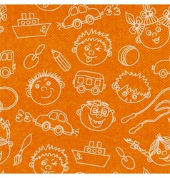Seamless kids faces and toys pattern background vector image