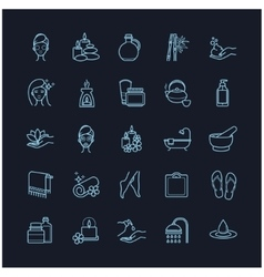 Spa and Beauty thin line icons set vector image vector image