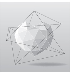 White geometrical heart background vector image vector image