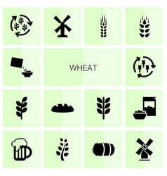 14 wheat icons vector