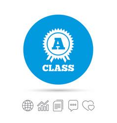a-class award sign icon premium level symbol vector image