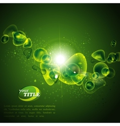 Abstract green background with shiny bubbles vector