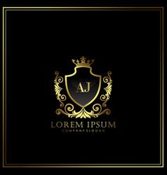 Aj initial letter luxury logo template in art vector