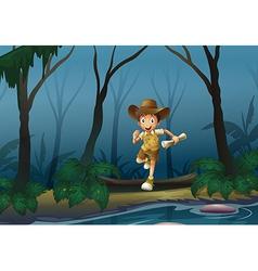 An adventurer in forest vector