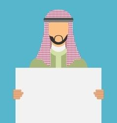 Arab saudi promoter man holding a blank horizontal vector image