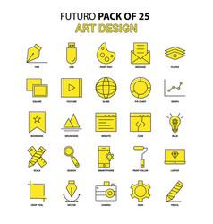 art design icon set yellow futuro latest design vector image
