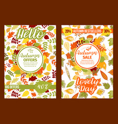 Autumn sale posters of fall leaf foliage vector