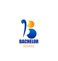 bachelor degree education letter b icon vector image