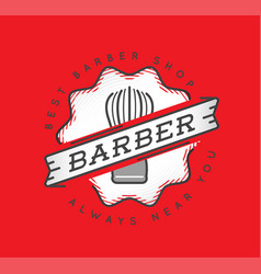 barber shop logo design vintage label badge vector image